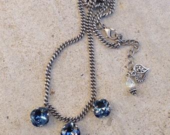 Swarovski Crystal cushion cut 3 stone necklace - denim blue - statement necklace - designer inspired - gift under 50 - sparkly necklace