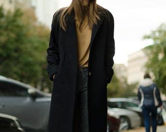 Black autumn coat / woman wool coat