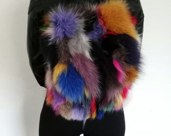 Multicolor Real Fur Backpack, Real Fox and Beaver Fur Handbag, Shoulder Bag,Clutch, Birkin, Handmade Bakcpack