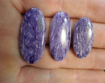 Set of 3 Polished Charoite Cabochon from Russia | Gemstone Cabochon | Jewelry Wire Wrapping Supply | Healing Crystal #56
