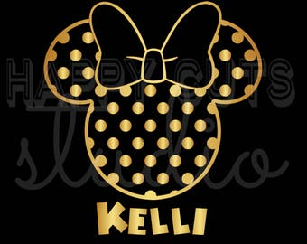 Personalized Polka Dot Minnie Mouse with Bow Matching Family Mother Daughter Cheer Dance Team Disney Iron On Decal Vinyl for Shirt 065