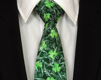 St Patricks Necktie, St Patricks Tie, Mens Necktie, Mens Tie, Green Necktie, Green Tie, Father, Day, Dad, Gift, Clover, Birthday, White, Man