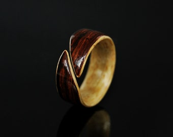 Handcrafted Mens Wood Ring Band · Bentwood · Cocobolo & Kiaat Ring · Wood Ring Men