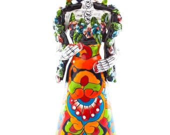 Traditional catrina Flower Shawl Rebosada colorful talavera dress skeleton ceramic hand painted figurine kiln fired and glazed - MEDIUM