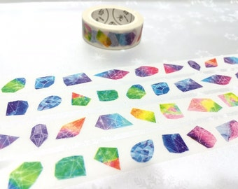 raw diamond washi tape 7M diamond colorful diamond raw stones crystals stones jewelry stones decor sticker tape diamond theme sticker tape