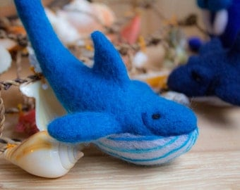 Felted whale - Needle Felted whale Ornament whale, Miniature Figurine, Sea Wool Figurine, Ocean Souvenir Nautical Decor,Fish, Art Doll