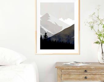 Mountain Landscape Print - Monochrome - Minimalist Print - Minimalist Mountains - Wall Art - Abstract Poster - Mountain - Black and White