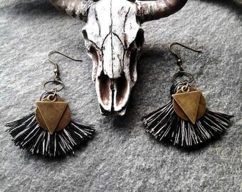 "Black and beige tassel, bronze triangles ""Mila"" designer jewelry, trendy jewelry fashion jewelry earrings"