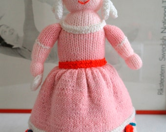 Vintage Hand Knitted Folk Art 'Topsy Turvy - Cinderella Before and After The Ball' Doll