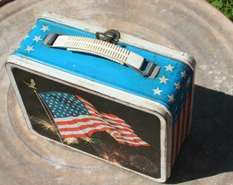 Patriotic Lunchbox - Vintage Lunchbox - Red / White and Blue Lunchbox