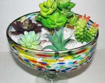 Faux Succulent Planter, Confetti Colored Glass Terrarium, Succulent Arrangement, Mexican Glass, Succulent Garden, Succulent Gift