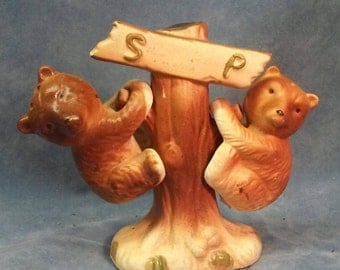 Vintage Bear Cubs Hanging on a Tree Salt and Pepper Shakers.