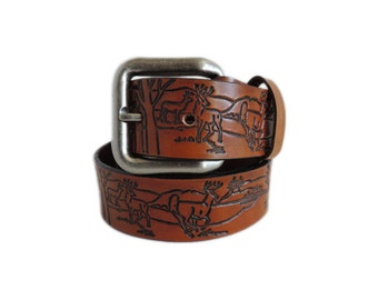 Tan Wildlife Leather Belt