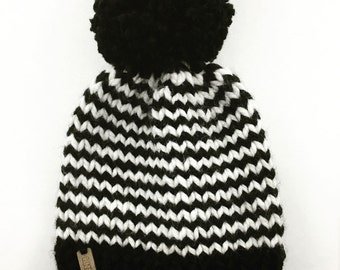 SALE // Ready To Ship // Knit Kids Hat // Striped Knit Hat // Knit Beanie // CloseKnit // Striped Highland Hat - Black & White