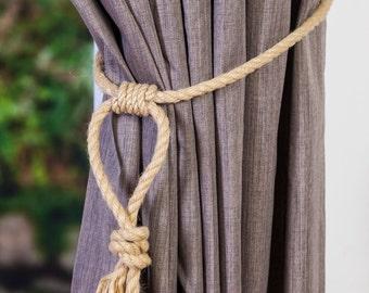 Hemp Rope Tiebacks/ Rustic Hemp Rope ties/ Loop Knot Curtain Tiebacks / shabby chic windows/ Rope Tiebacks/ nautical ties/ tassle rope ties