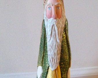 Santa Hand Carved figure in Cypress Knee Wood//Christmas gift//Great Decoration