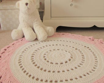 Nursery Rug. Doily Rug. Two-tone Rug. Playmat. Round Rug. Crochet Rug. Ready to ship. Handmade Rug.