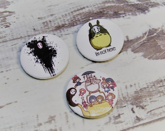 No Face - Totoro Fan Artisan Pin Badges - Set of 3, 25mm, Studio Ghibli