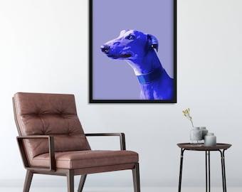 Dog Poster, GREYHOUND Art Print, Dog Portrait Print, Animal Portrait, Dog art print, Dog Lover art, Dog artwork, Pop art dog print