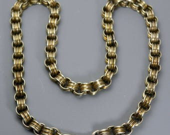 Antique Victorian Solid SILVER Belcher Collar / BOOK CHAIN Necklace with Dog Clip / Swivel Fastening