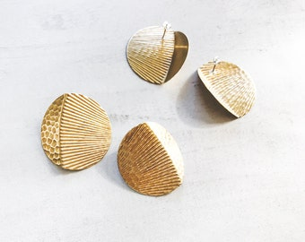 Big Disc Earrings — Hammered Large Circles — lightweight statement earring | oversized ethnic circles | boho geometric big tribal earrings
