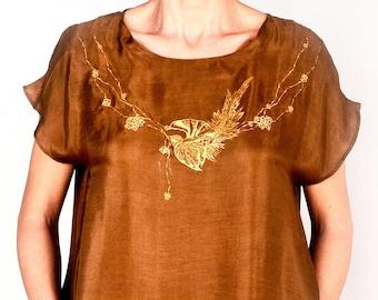 silk habotai hand printed blouse..SAMPLE SALE