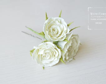 Ivory Rose hair pin Wedding hair pin Flower hairpin Floral hair accessories Gift for her Romantic wedding Bridal hairpiece Ivory flower girl