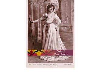 SALE Edwardian Actress, Printable Postcard, Digital Download, Edwardian Parasol, Edwardian Hat, Sepia Print,Edwardian Dress,Photography