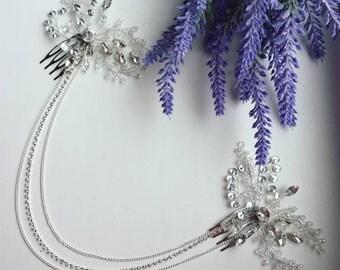 Silver wedding tiara Silver vine Bride Vine Jewelry for bride Hair jewelry White jewelry Tiara for bride