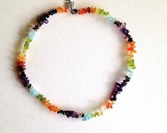CHAKRA CRYSTAL NECKLACE.. Choker..Quartz Crystals Necklace, 18 Inches Long, with 2 Inch Extension