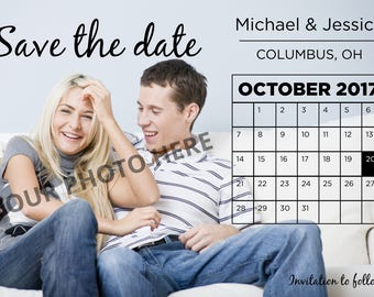 Save the Date - Calendar and photo - Fully customizable - DIGITAL design, print yourself