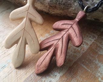 Hand carved wooden leaf pendant