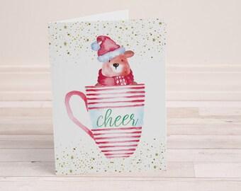Cup of Cheer - Printable Christmas Card - Cute Christmas Card - Cute Santa Bear - Bear in a Cup - Unique Christmas Cards - Bear in a Mug