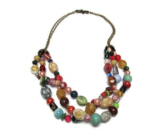 Beaded necklace / Braided necklace / Gypsy necklace / Unique necklace / 3 strand necklace / Boho necklace / Colorful necklace /