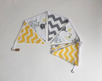 Ele & friends - double-sided fabric bunting
