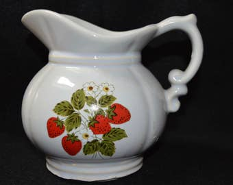 Vintage McCoy Strawberry Pitcher, McCoy Art Pottery Pitcher, McCoy Strawberry Pattern No. 7528 Collectible White Pitcher with Berries Design