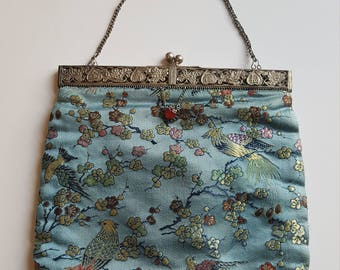 Vintage Blue Chinese art nouveau evening bag with unusual silver metal square hinged frame. Excellent vintage condition.
