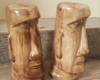 Rare salt and pepper shaker from Disneyland Vintage Easter Island Moai 1950's Tiki Adventureland