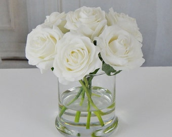 White, rose/roses, glass vase, faux water, acrylic, illusion, silk, Real Touch flowers, floral arrangement, centerpiece, home, decor, gift