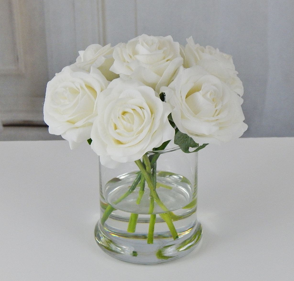 White roseroses glass vase faux water acrylic illusion silk white roseroses glass vase faux water acrylic illusion silk real touch flowers floral arrangement centerpiece home decor gift reviewsmspy