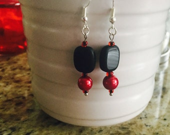 FREE SHIPPING! Red/Black Hoop Earring
