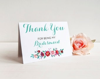 Thank You for being my bridesmaid - Greeting Card Note Card - Thank You Card for Bridesmaid with Metallic Envelope Wedding Stationery