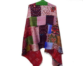 oversized Silk Patch Work  Scarf Head Wrap Stole Kantha Embroidered Scarf Boho Scarves