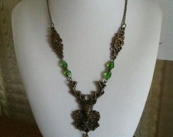 "Necklace ""Deer in the dark forest"" style nature vintage"