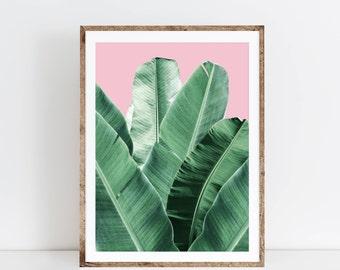 Banana leaf wall art, banana leaf, palm Leaf, banana leaf poster, Palm print, printable wall art, botanical print, Banana leaf, palm leaf