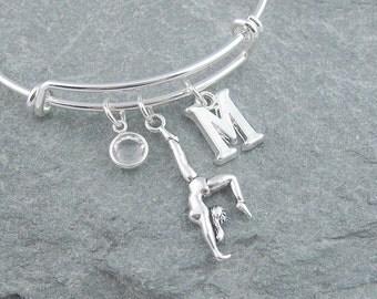 Gymnast bracelet, silver gymnastics bracelet, personalized jewelry, initial bracelet, swarovski birthstone, gymnast gift, adjustable bangle