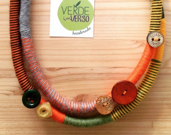 Double turn merino wool necklace//accessories//jewellery//Orange, grey and yellow Necklace//vintage buttons