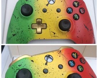 Custom Rasta Black Splatter & Gold Xbox One Controller - Brand New