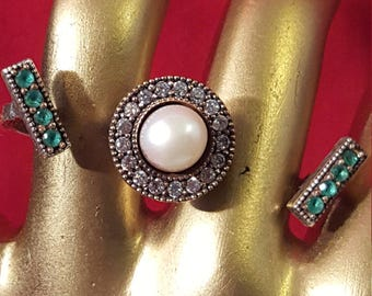 Sterling Silver 9.25 Stamped.Genuine Pearl and Emerald Gemstones.Antique finished.Wedding Jewelry. Free Shipping.Free Resizing.R 221-230