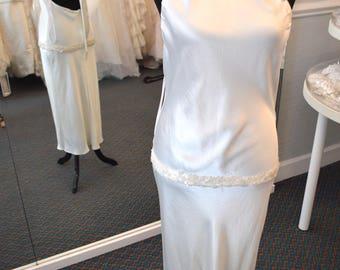 12/ Halter Wedding Dress / Casual Beach Destination Wedding / Halter Strappy Dress / Drop Waist Sequined / Gorgeous / 12 Fitted